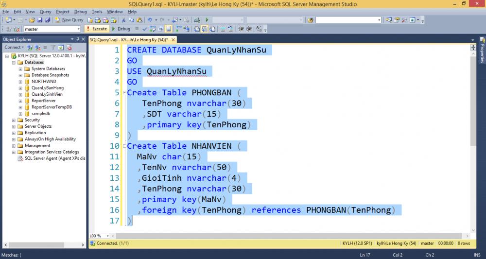 Cách Tạo Database Trong Sql