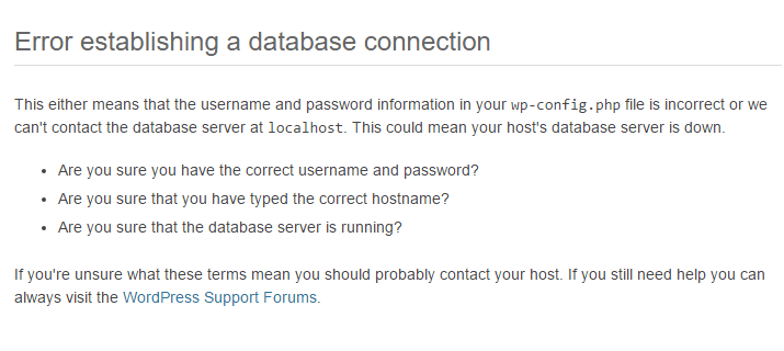 Error Establishing A Database Connection Là Lỗi Gì