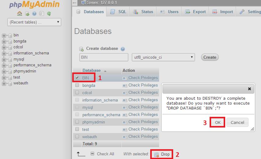 Hướng dẫn cách xóa database trong phpmyadmin mới nhất 2020