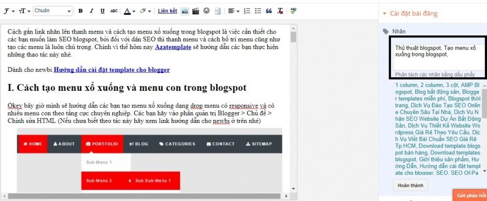 Tạo Menu Xổ Xuống Trong Blogspot
