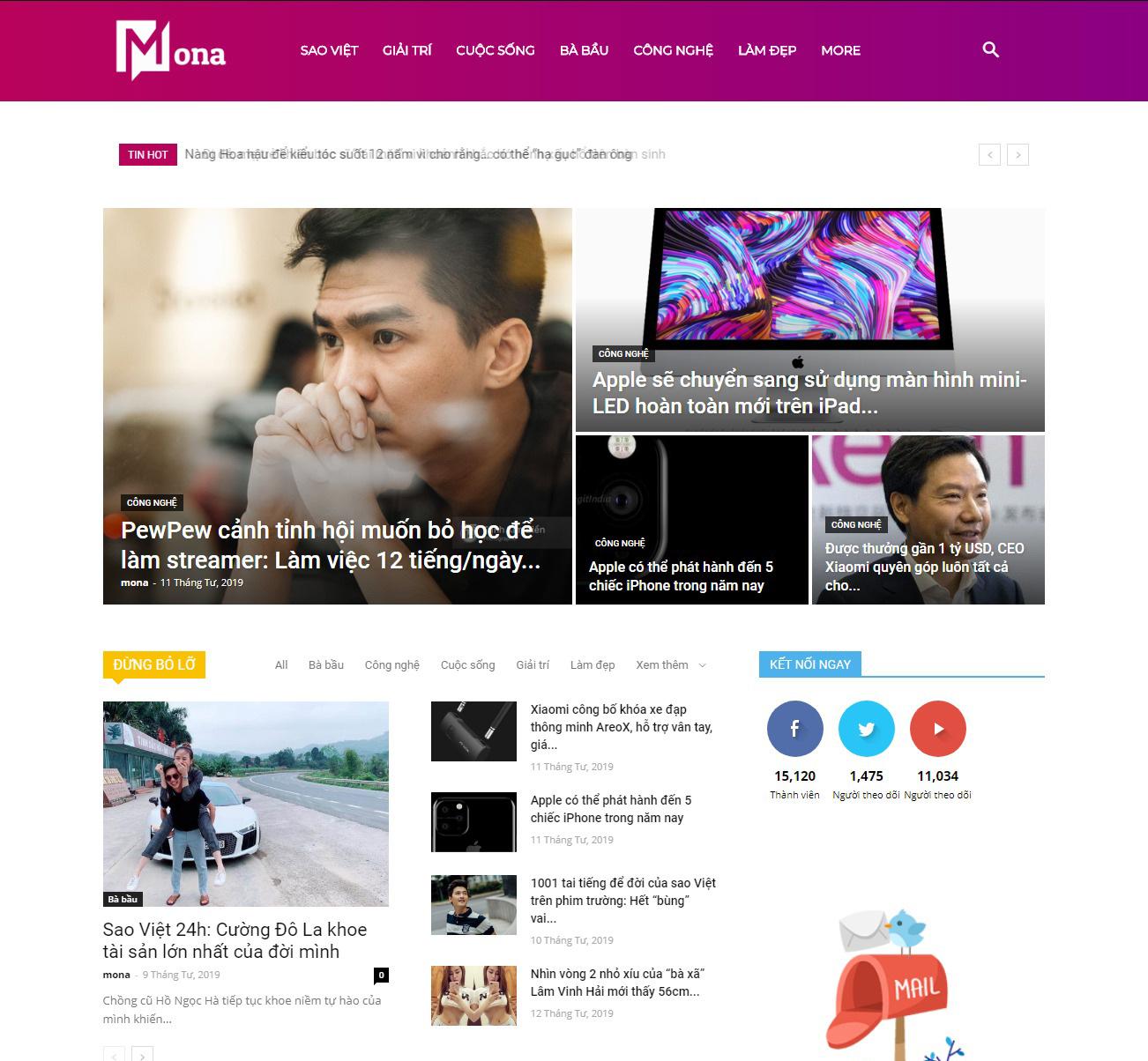 Thiết kế website tin tức - tạp chí online - báo điện tử